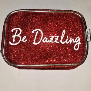 "Handbags - ""BE DAZZLING"" RED GLITTER COSMETIC MAKEUP BAG"